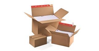 Aufrichtverpackungen mit Höhenvariablen und SKL Verschluss - 238 × 170 × 60-130 mm