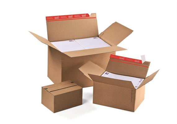 Aufrichtverpackungen mit Höhenvariablen und SKL Verschluss