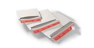 Versandtaschen mit Querbefüllung aus Vollpappe weiss - 250 × 176 mm
