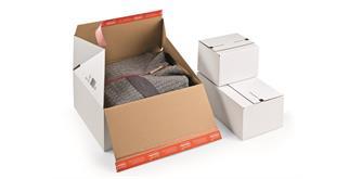 Versandverpackungen für Rückversand in weiss