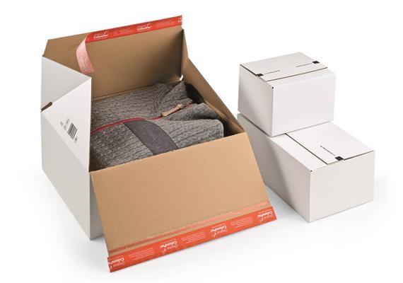 Versandverpackungen für Rückversand in weisser Wellpappe